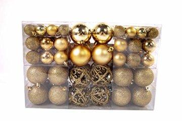 Exklusives Weihnachtskugeln Christbaumkugeln SET mit 100 Stück Farbe Gold - 3