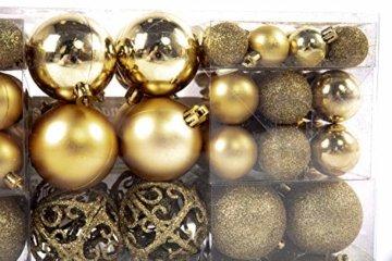 Exklusives Weihnachtskugeln Christbaumkugeln SET mit 100 Stück Farbe Gold - 4
