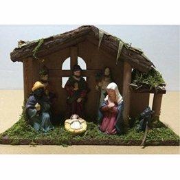 Exquisite Handbemalt Krippenfiguren Weihnachtskrippe 7 Figuren Holz Tischdeko Beleuchtet Weihnachtsdeko Krippe Figuren 24X8X16 cm Abbildung Statue - 1