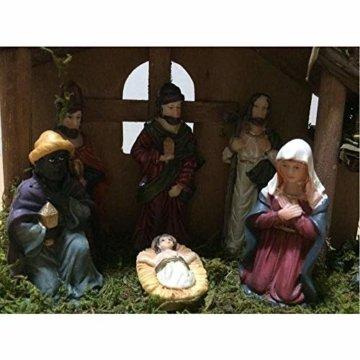 Exquisite Handbemalt Krippenfiguren Weihnachtskrippe 7 Figuren Holz Tischdeko Beleuchtet Weihnachtsdeko Krippe Figuren 24X8X16 cm Abbildung Statue - 4