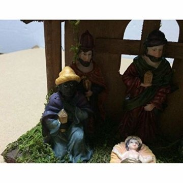 Exquisite Handbemalt Krippenfiguren Weihnachtskrippe 7 Figuren Holz Tischdeko Beleuchtet Weihnachtsdeko Krippe Figuren 24X8X16 cm Abbildung Statue - 5
