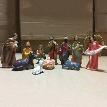 Exquisite Handbemalt Weihnachtskrippe Krippenfiguren 20 LED Beleuchtung und 11 Figuren Holz Tischdeko Beleuchtet Krippe Figuren Abbildung Statue - 3
