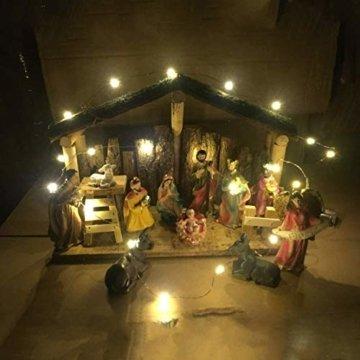 Exquisite Handbemalt Weihnachtskrippe Krippenfiguren 20 LED Beleuchtung und 11 Figuren Holz Tischdeko Beleuchtet Krippe Figuren Abbildung Statue - 5