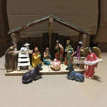 Exquisite Handbemalt Weihnachtskrippe Krippenfiguren 20 LED Beleuchtung und 11 Figuren Holz Tischdeko Beleuchtet Krippe Figuren Abbildung Statue - 6