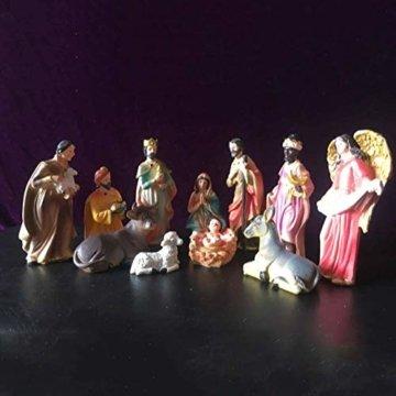 Exquisite Handbemalt Weihnachtskrippe Krippenfiguren 20 LED Beleuchtung und 11 Figuren Holz Tischdeko Beleuchtet Krippe Figuren Abbildung Statue - 7