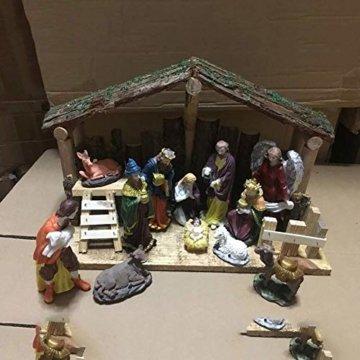Exquisite Krippenfiguren Weihnachtskrippe 15 LED Beleuchtung und 12 Figuren Holz Tischdeko Beleuchtet Weihnachtsdeko Krippe Figuren Handbemalt Abbildung Statue - 4