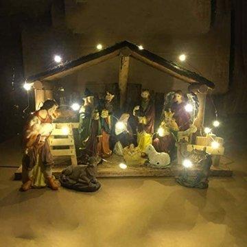 Exquisite Krippenfiguren Weihnachtskrippe 15 LED Beleuchtung und 12 Figuren Holz Tischdeko Beleuchtet Weihnachtsdeko Krippe Figuren Handbemalt Abbildung Statue - 5