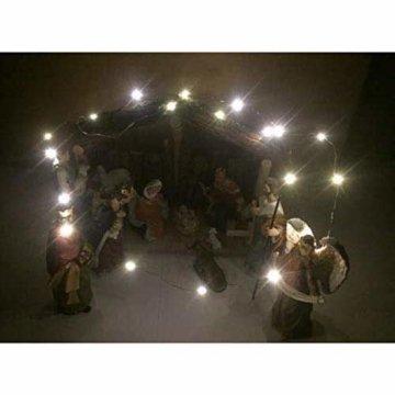 Exquisite Wunderschöne Weihnachtskrippe Krippenfiguren 20 LED Beleuchtung und 11 Figuren Holz Tischdeko Beleuchtet Weihnachtsdeko Krippe Figuren Handbemalt Abbildung Statue - 3