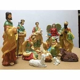 Exquisite Wunderschöne Weihnachtskrippe Krippenfiguren 20 LED Beleuchtung und 11 Figuren Holz Tischdeko Beleuchtet Weihnachtsdeko Krippe Figuren Handbemalt Abbildung Statue - 1