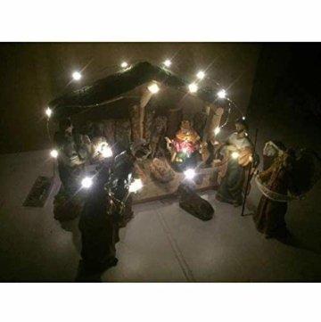 Exquisite Wunderschöne Weihnachtskrippe Krippenfiguren 20 LED Beleuchtung und 11 Figuren Holz Tischdeko Beleuchtet Weihnachtsdeko Krippe Figuren Handbemalt Abbildung Statue - 5