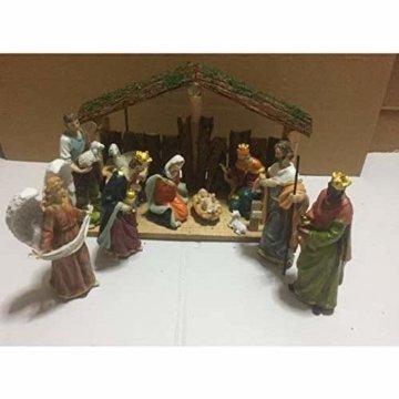 Exquisite Wunderschöne Weihnachtskrippe Krippenfiguren 20 LED Beleuchtung und 11 Figuren Holz Tischdeko Beleuchtet Weihnachtsdeko Krippe Figuren Handbemalt Abbildung Statue - 6