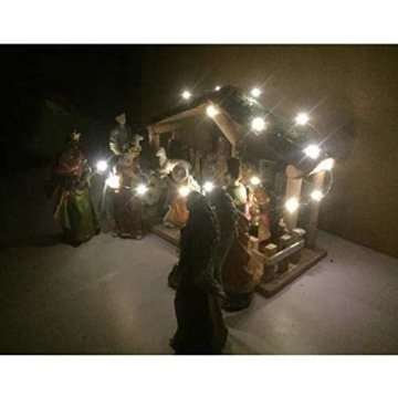 Exquisite Wunderschöne Weihnachtskrippe Krippenfiguren 20 LED Beleuchtung und 11 Figuren Holz Tischdeko Beleuchtet Weihnachtsdeko Krippe Figuren Handbemalt Abbildung Statue - 7