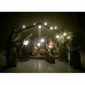 Exquisite Wunderschöne Weihnachtskrippe Krippenfiguren 20 LED Beleuchtung und 11 Figuren Holz Tischdeko Beleuchtet Weihnachtsdeko Krippe Figuren Handbemalt Abbildung Statue - 8