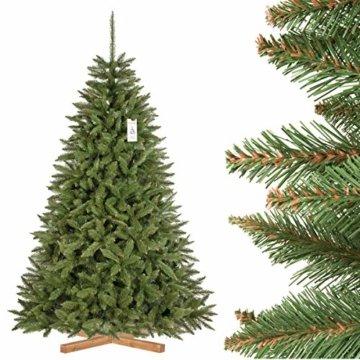 FairyTrees künstlicher Weihnachtsbaum FICHTE Natur, grüner Stamm, Material PVC, inkl. Holzständer, 220cm, FT01-220 - 1
