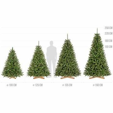 FairyTrees künstlicher Weihnachtsbaum FICHTE Natur, grüner Stamm, Material PVC, inkl. Holzständer, 220cm, FT01-220 - 7