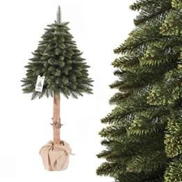 FairyTrees künstlicher Weihnachtsbaum im Topf FICHTE NATURSTAMM, Grün, Material PVC, Baumstamm aus echtem Holz, 150cm, FT20-150 - 1