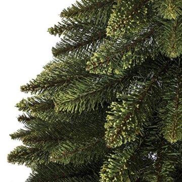 FairyTrees künstlicher Weihnachtsbaum im Topf FICHTE NATURSTAMM, Grün, Material PVC, Baumstamm aus echtem Holz, 150cm, FT20-150 - 4