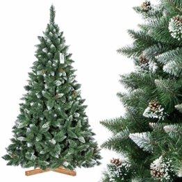 FairyTrees künstlicher Weihnachtsbaum Kiefer, Natur-Weiss beschneit, Material PVC, echte Tannenzapfen, inkl. Holzständer, 220cm, FT04-220 - 1
