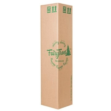 FairyTrees künstlicher Weihnachtsbaum Kiefer, Natur-Weiss beschneit, Material PVC, echte Tannenzapfen, inkl. Holzständer, 220cm, FT04-220 - 6