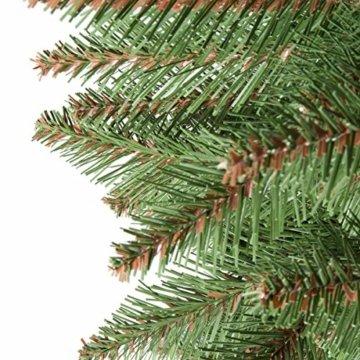 FairyTrees künstlicher Weihnachtsbaum NORDMANNTANNE, grüner Stamm, Material PVC, inkl. Holzständer, 150cm, FT14-150 - 4