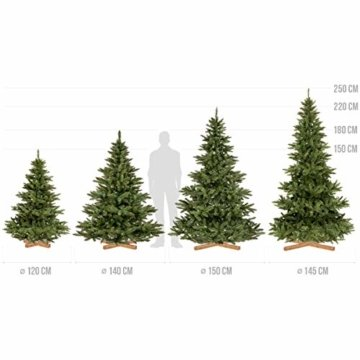 FairyTrees künstlicher Weihnachtsbaum NORDMANNTANNE, grüner Stamm, Material PVC, inkl. Holzständer, 150cm, FT14-150 - 6