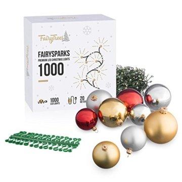 FairyTrees künstlicher Weihnachtsbaum Slim, Kiefer Natur-Weiss beschneit, Material PVC, echte Tannenzapfen, inkl. Holzständer, 220cm, FT09-220 - 3
