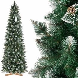 FairyTrees künstlicher Weihnachtsbaum Slim, Kiefer Natur-Weiss beschneit, Material PVC, echte Tannenzapfen, inkl. Holzständer, 220cm, FT09-220 - 1