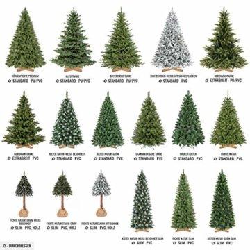 FairyTrees künstlicher Weihnachtsbaum Slim, Kiefer Natur-Weiss beschneit, Material PVC, echte Tannenzapfen, inkl. Holzständer, 220cm, FT09-220 - 4
