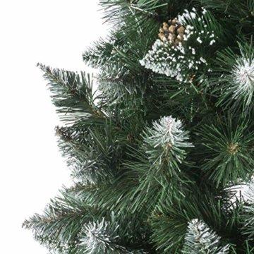 FairyTrees künstlicher Weihnachtsbaum Slim, Kiefer Natur-Weiss beschneit, Material PVC, echte Tannenzapfen, inkl. Holzständer, 220cm, FT09-220 - 5