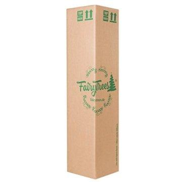 FairyTrees künstlicher Weihnachtsbaum Slim, Kiefer Natur-Weiss beschneit, Material PVC, echte Tannenzapfen, inkl. Holzständer, 220cm, FT09-220 - 6
