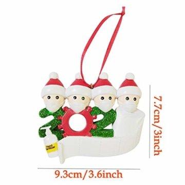 falling cycle land Weihnachtsschmuck,2020 Personalisierte Überlebende Familie Von 2, 3, 4, 5 Weihnachten 2020 Feiertags Dekorationen Segen Harz Schneemann Weihnachtsbaum Hängen Anhänger (C) - 3