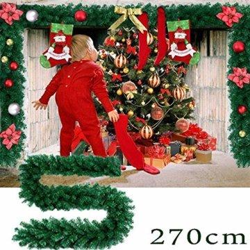 Faraone4w Weihnachtsgirlande, Künstliche Tannengirlande Weihnachtsgirlande mit LED Beleuchtet Weihnachten Dekoration 2.7 Meter für Innen und Außen Verwendbar Deko (Rot) - 6