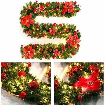 Faraone4w Weihnachtsgirlande, Künstliche Tannengirlande Weihnachtsgirlande mit LED Beleuchtet Weihnachten Dekoration 2.7 Meter für Innen und Außen Verwendbar Deko (Rot) - 7