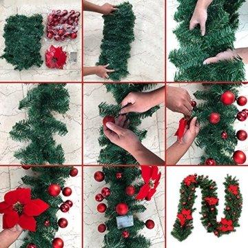 Faraone4w Weihnachtsgirlande, Künstliche Tannengirlande Weihnachtsgirlande mit LED Beleuchtet Weihnachten Dekoration 2.7 Meter für Innen und Außen Verwendbar Deko (Rot) - 8