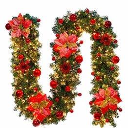 Faraone4w Weihnachtsgirlande, Künstliche Tannengirlande Weihnachtsgirlande mit LED Beleuchtet Weihnachten Dekoration 2.7 Meter für Innen und Außen Verwendbar Deko (Rot) - 1