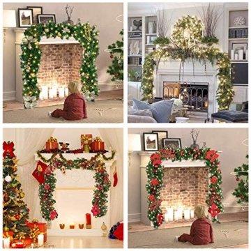 Faraone4w Weihnachtsgirlande, Künstliche Tannengirlande Weihnachtsgirlande mit LED Beleuchtet Weihnachten Dekoration 2.7 Meter für Innen und Außen Verwendbar Deko (Rot) - 2