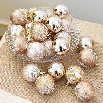 FeiliandaJJ 6CM Eine Schachtel mit 24 Anhänger Christbaumkugeln Dekorationen Kugeln Party Hochzeit Weihnachten Deko Weihnachtskugeln Ornament (Khaki) - 2