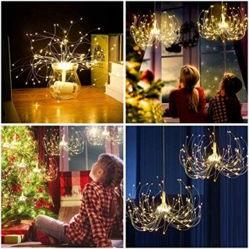 Feuerwerk Lichterketten für außen und innen,4 Stück wasserdichte led glühwürmchen lichterkettemit 4 * 120 LED Kupferdraht als eine ideale Dekoration für Outdoor, Balkon, Weihnachtsbaum usw. - 4