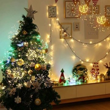 Feuerwerk Lichterketten für außen und innen,4 Stück wasserdichte led glühwürmchen lichterkettemit 4 * 120 LED Kupferdraht als eine ideale Dekoration für Outdoor, Balkon, Weihnachtsbaum usw. - 6