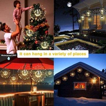 Feuerwerk Lichterketten für außen und innen,4 Stück wasserdichte led glühwürmchen lichterkettemit 4 * 120 LED Kupferdraht als eine ideale Dekoration für Outdoor, Balkon, Weihnachtsbaum usw. - 7