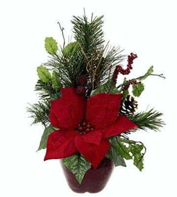 Flair Flower Gesteck Weihnachtsstern auf Apfel-Topf Poinsettie Kunstblume Weihnachtsblume Winterblume Blume Pflanze Arrangement Weihnachtsdeko Tischdeko, rot, 33x23x11 cm - 2