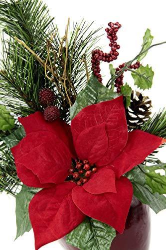 Flair Flower Gesteck Weihnachtsstern auf Apfel-Topf Poinsettie Kunstblume Weihnachtsblume Winterblume Blume Pflanze Arrangement Weihnachtsdeko Tischdeko, rot, 33x23x11 cm - 3