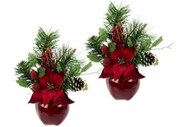 Flair Flower Gesteck Weihnachtsstern auf Apfel-Topf Poinsettie Kunstblume Weihnachtsblume Winterblume Blume Pflanze Arrangement Weihnachtsdeko Tischdeko 2er Set, rot, 24x17x9 cm - 1