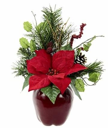 Flair Flower Gesteck Weihnachtsstern auf Apfel-Topf Poinsettie Kunstblume Weihnachtsblume Winterblume Blume Pflanze Arrangement Weihnachtsdeko Tischdeko, rot, 33x23x11 cm - 1