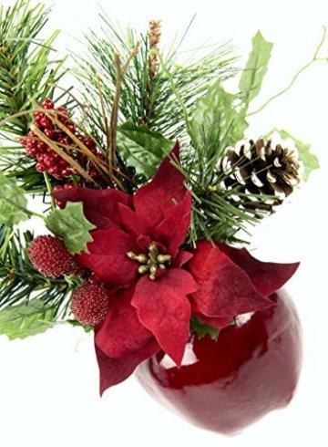 Flair Flower Gesteck Weihnachtsstern auf Apfel-Topf Poinsettie Kunstblume Weihnachtsblume Winterblume Blume Pflanze Arrangement Weihnachtsdeko Tischdeko 2er Set, rot, 24x17x9 cm - 2