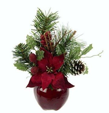 Flair Flower Gesteck Weihnachtsstern auf Apfel-Topf Poinsettie Kunstblume Weihnachtsblume Winterblume Blume Pflanze Arrangement Weihnachtsdeko Tischdeko 2er Set, rot, 24x17x9 cm - 3