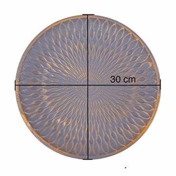 Flanacom Deko Tablett Dekoschale aus Holz - Design Holzschale Rund mit Verzierungen - Moderne Tischdekoration für die Wohnung - Tischdeko für Wohnzimmer oder Flur - Wohnaccessoires (Rund Grau) - 2