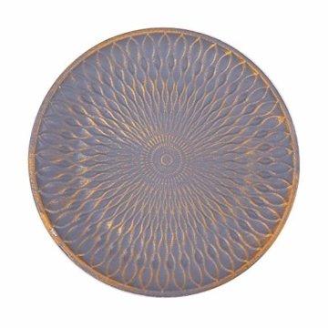 Flanacom Deko Tablett Dekoschale aus Holz - Design Holzschale Rund mit Verzierungen - Moderne Tischdekoration für die Wohnung - Tischdeko für Wohnzimmer oder Flur - Wohnaccessoires (Rund Grau) - 1