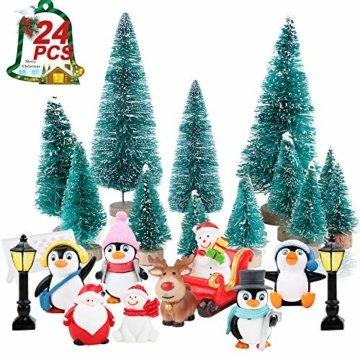 FLOFIA 24 TLG. Miniatur Deko Mini Weihnachtsfiguren Mini Weihnachten Deko Weihnachtsbaum Weihnachtsfiguren Miniatur Garten Deko Mini Tannen-Christbaum Schneemann Elch Pinguin Mini Tischdeko - 3