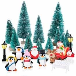 FLOFIA 24 TLG. Miniatur Deko Mini Weihnachtsfiguren Mini Weihnachten Deko Weihnachtsbaum Weihnachtsfiguren Miniatur Garten Deko Mini Tannen-Christbaum Schneemann Elch Pinguin Mini Tischdeko - 1